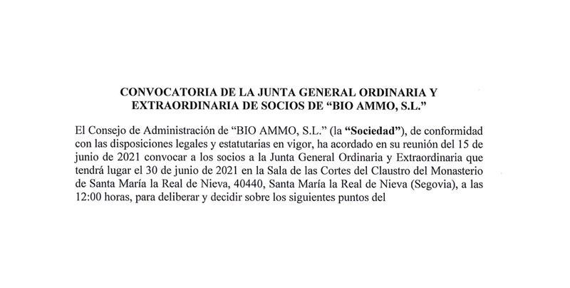 Convocatoria Junta General Bio Ammo SL
